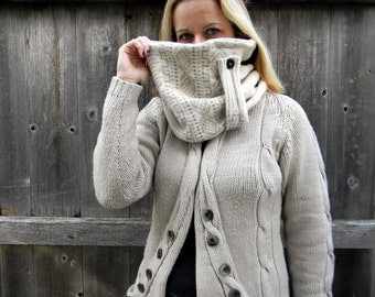 Upcycled Reversible Women Neck Warmer Cowl Scarf  Wrap Wool / Acrylic Blend Cream Beige Pattern & Brown
