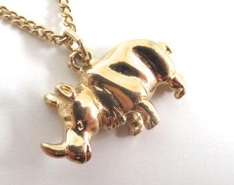 Vintage 80's Avon // Tiny Rhino Necklace