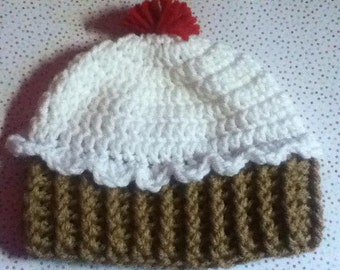 Handmade Crochet Cupcake Hat 6-12 Month Old