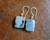 Boulder Opal jewelry - square large white Opal earrings - handmade in Australia by NaturesArtMelbourne - natural stone jewellery