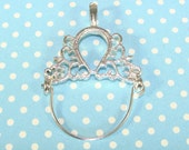 2 Charm Holder Pendants Fancy Scroll Silver (17227) Vintage Filigree Style Hinged Pendants Add Charms and Drops Jewelry Supplies Unique