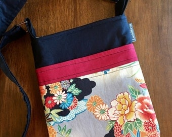 Cross Body Adjustable Strap - Japanese Blossoms- Fans - Tote - Ready to Ship
