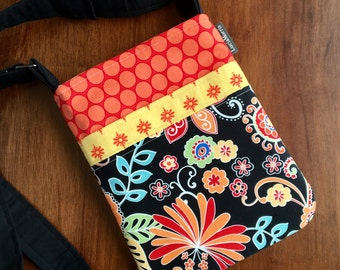 Cross Body Adjustable Strap - Michael Miller Flowers - Tote - Ready to Ship