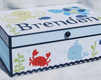 Personalized Keepsake Box . Under the Sea . Ocean themed . Sea Turtle . Brendan