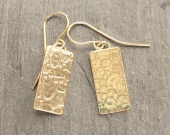 Reef Ripples 14K goldfill square earrings