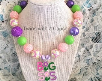 Big Sister Necklace,Lil Sis Big Sis necklace,Big Sis Chunky Necklace Sister Necklace,Necklace,Chunky bead necklace,