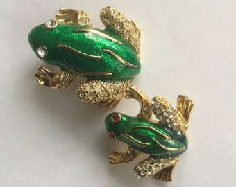 2 Vintage Green Enamel frog pins