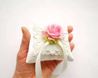 Pink Rose Ring Bearer Pillow, Pink Ivory Satin Ring Pillow, Woodland Shabby Chic Rustic Vintage Wedding Pillow, Wedding Party Decor