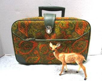Vintage small softsided suitcase Paisley Greeen Orange Gold Floral SuitCase, Tapestry, Hand Luggage Carry On Overnighter, Going to Grandmas