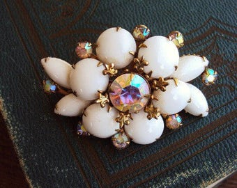 Vintage Milk Glass Brooch Pin AB Aurora Borealis Rhinestones Crystals Pronged Settings Fleur De Lis Metal Mid Century Costume Jewelry Kitsch