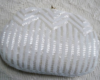 Vintage Evening Wedding Purse Walborg Pearl and Sequin Purse Prom Purse