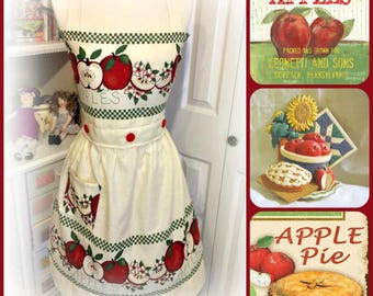 Up cycled from retro curtains woman's handmade apple full apron bridal shower, birthdays, Mother's Day, house warming, gifts