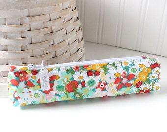 Red and Aqua Small Pencil Pouch Skinny Pencil Case Cute Pencil Case Floral Purse Organizer