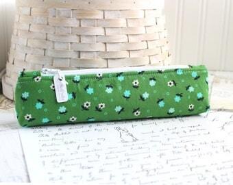 Small Green Floral Pencil Pouch Skinny Pencil Case Cute Pencil Case Floral Purse Organizer
