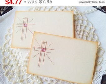 SALE Shining Cross Place Cards Food Buffet Label Tags Christening Baptism Pink Gem Set of 10