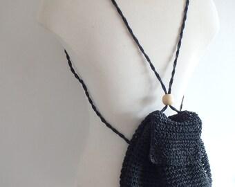 Backpack Vintage Woven Basket Bag Black