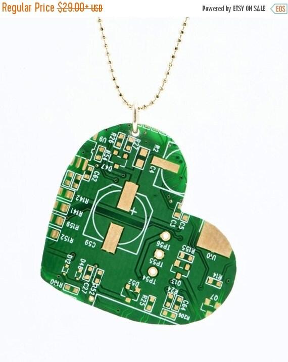 BIG30SALE geek heart necklace-Heart Necklace-geek heart pendant-For Geek-Geek-Recycled electronic Heart Pendant-Computer Jewelry-recycling w