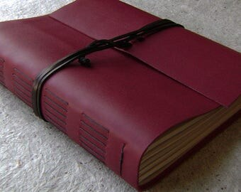 """8.5""""x 11"""" leather journal, 408 pages,  deep red journal, vintage style leather journal,  (2440)"""