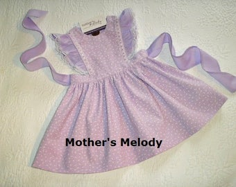 Lovely in Lilac Size 2T Pinafore Dress Ready to Ship.  Tiny White Flowers on Lilac Cotton with lace and satin ribbon.