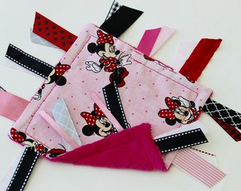 taggie, blanket, ready to ship, baby, girl, small, travel, Minnie Mouse, pink, red, black, ribbon, lovey, texture, sensory, gift