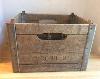 Vintage 1961 Wooden Milk Bottle Crate #D