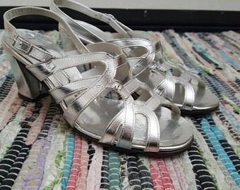 Vintage 60s Silver Foil Strappy Gladiator Wedge Sandals Dance Shoes