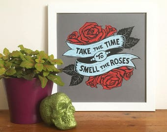 Rose Tattoo Linocut Print, Take the Time to Smell the Roses, Kitchen Art, Lino Print, Hand Printed Poster, Letterpress Poster