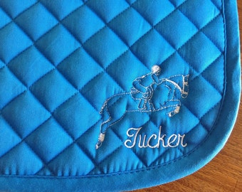English All Purpose Saddle Pad-Royal Blue-Embroidered Jumping Horse & Rider/Personalized