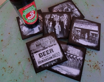 Prohibition coasters - set of 6 wooden coasters - black and white beer coasters, gifts for him, vintage pictures, mens gift, housewarming