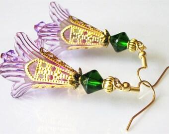 Flower Earrings, Unique Dangle Earrings, Modern Earrings, Gold Filigree, Purple Lily, Lucite Flower