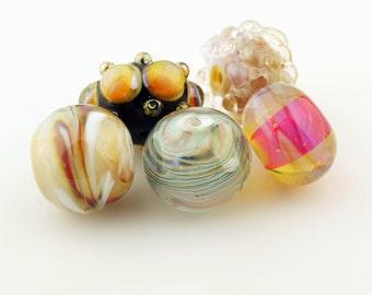 Lampwork Bead Set, Iridescent Hot Pink, Blue, Purple,Green,  Black Glass, Grab Bag #2