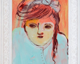 Fine Art Print, Giclee Art, from painting, modern wall art orange red turquoise, girl, by Ana Gonzalez