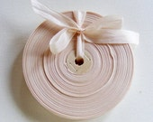 Vintage 1930's-40's French Woven Ribbon -Milliners Stock- 5/8 Inch Barely Blush