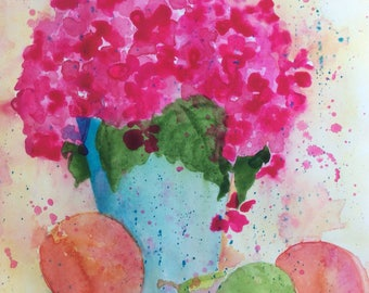 UNFRAMED Small Original Watercolour Painting Pink Hydrangea Blue Vase