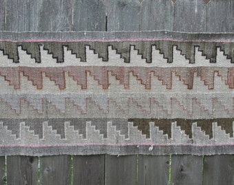 Vintage Southwestern Weaving Rug Geometric Wool Peru Mexico 3x6 Neutral Colors Kilim SALE