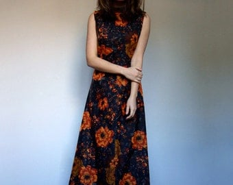 Floral Maxi Dress 70s Orange Long Dress Hippie Dress Black Sundress Boho Dress Festival Maxi - Medium to Large M  L