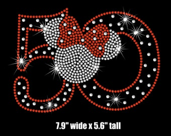 Minnie Mouse 50th Birthday iron on rhinestone transfer your color choice