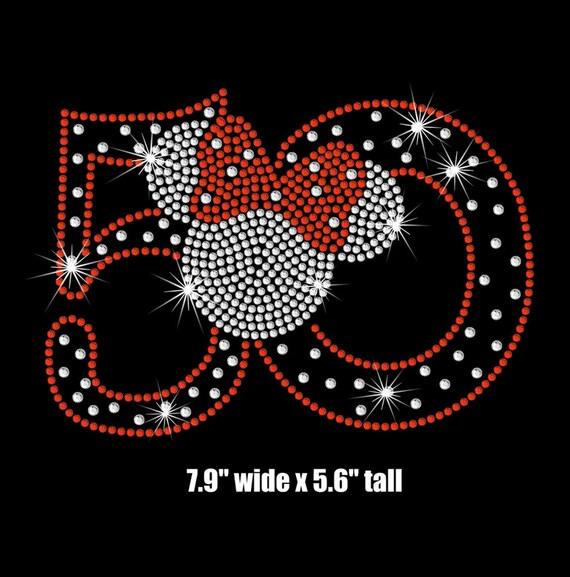 Minnie Mouse 50th Birthday Iron On Rhinestone Transfer Your