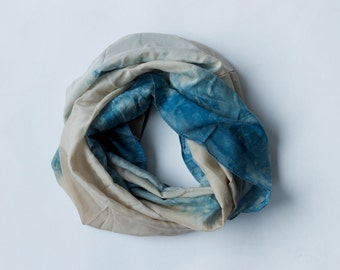 Silk/Cotton Infinity Scarf - Indigo & Black-Eyed-Susans