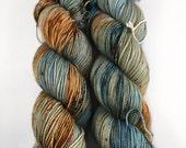 Panic in Detroit - (squish sock) - hand dyed yarn - sock weight - fingering- merino wool - superwash - blue - orange - speckled