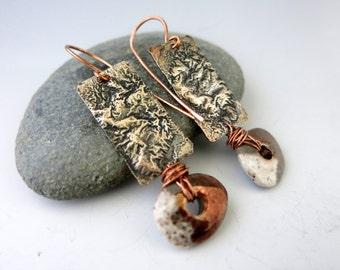 Silver & Copper Dangle Earrings, Mixed Metal Earrings, Copper Earwire, Ready to Ship