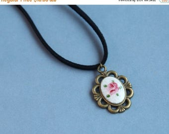 CLOSING SALE Vintage hand painted rose Guilloche Enamel Charms pendant necklace.