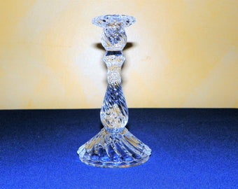 "Fostoria Colony Single 7 1/2"" Candlestick, MINT Taper Candle Holder with Twisted Swirling Glass"