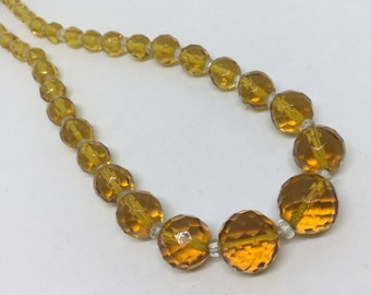 Vintage Crystal Amber Glass Faceted Beaded Necklace