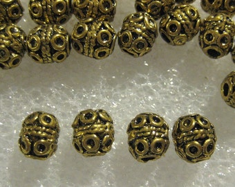 Brass Filagree Barrel Spacer Beads 8 mm x 10 mm --- Lot of 20