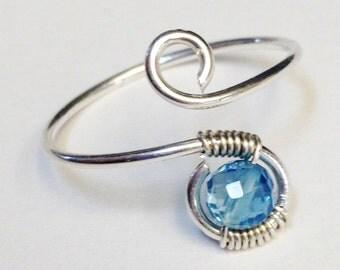 London Blue Topaz Ring   London Blue Topaz Gemstone   London Blue Topaz Midi Ring    Blue Topaz Ring   Sterling Silver Ring  Silver Ring