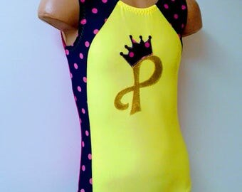 Gymnastic Dance Leotard with Initial Crown Applique. Dancewear. Birthday Crown Outfit.  CHOOSE YOUR COLORS. Size 2T - Girls 12