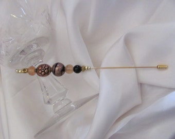 """Hat Pin Gold Beaded Brooch Lapel Hat Hijab Scarf Pin Stick 6"""" Inch Long - Many to Choose From! (#02)"""