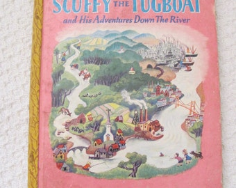 Book Scuffy the Tugboat -  Little Golden Book dated 1946 Third 3rd Printing C Edition