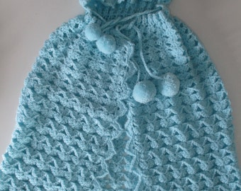 Vintage Knitted Baby Hooded Shawl